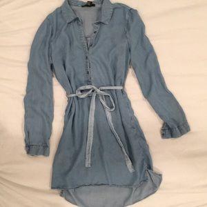 Blue chambray shirt dress w/ belt